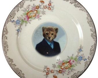 "Charlie Cheetah School Portrait Plate - Altered Retro Plate 6.15"""