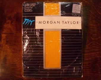 "Vntage Deadstock 1980's  Morgan Taylor ""Canter Gold""  Ultra Sheer Pantyhose"