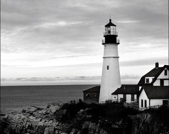 Lighthouse photo Portland Head Light  Maine Coastal art 8x10 art print Cape Elizabeth