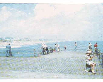 Fishing from Pier Ocean City Maryland 1960s postcard