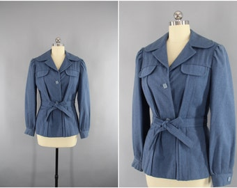 Vintage 1940s Wool Jacket / 40s Blazer / WW2 Women's Military Style Coat / Blue Grey / WWII Era