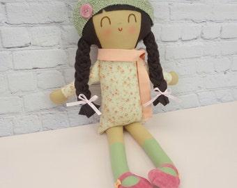 Lexie // Handmade Doll // Girl Gift // Birthday Gift // Rag Doll // Soft Floral Doll Dress // Suede Mary Janes // Nursery Decor