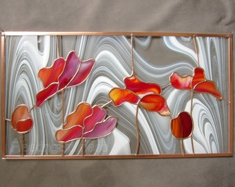 Red Tulips Stained Glass Panel Poppies Flowers Handmade MADE TO ORDER