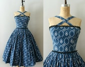 RESERVED LISTING -- Vintage 1950s Dress - 50s Blue Floral Cotton Sundress - Cross my Heart