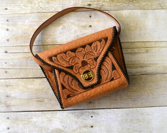 Vintage 1950s Purse - 50s Tooled Leather Handbag