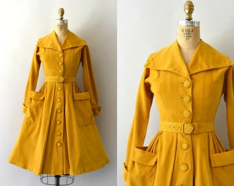 RESERVED LISTING  -- 1950s Vintage Dress - 50s Golden Yellow Cotton Corduroy Dress