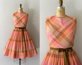 1950s Vintage Dress - 50s Pink and Orange Plaid Dress
