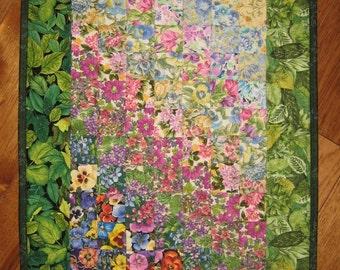 Sunny Garden Flowers Art Quilt, Fabric Wall Hanging, Sunshine Summer Flowers Garden Blue Yellow Red, Watercolor Quilt, Handmade