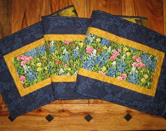 Quilted Table Runner, Blue Pink Yellow Wildflowers, Summer Table Runner, Long Reversible Runner, Fall Table Runner Quiltsy Handmade