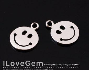 NP-1750 Rhodium Plated, Smile, Pendant, 2pcs