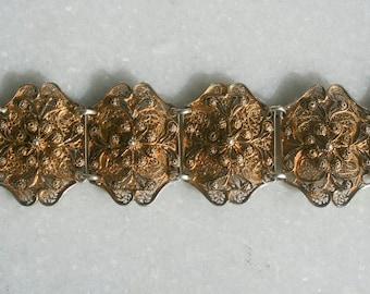 Vintage Gold Tone Etruscan Bracelet 50s 60s