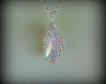 Angel Aura Wire Wrapped Crystal Quartz Pendant in Silver -  no. 012916