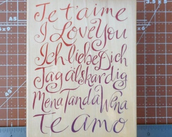 Je T'aime Rubber Stamp by Uptown Stamps I Love You in six