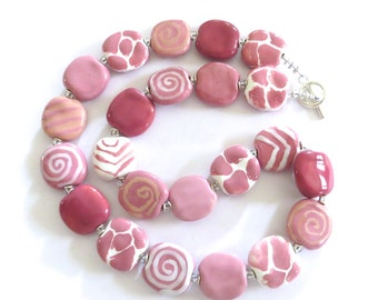 Pink Beaded Necklace, Ceramic Jewelry, Kazuri Bead Necklace, Statement Necklace