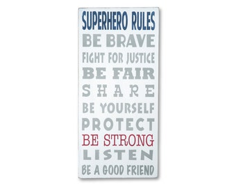 Superhero Rules Sign - Typography Word Art perfect for your little boy Nursery Wood Sign