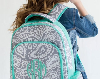 Girls Monogrammed Gray Paisley with Mint Backpack Free Personalization