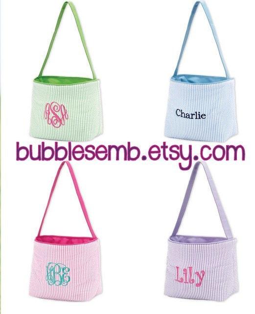 Monogrammed Seersucker Easter Basket Bucket Girls Boys Pink