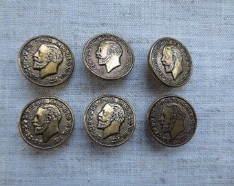 Vintage gold tone coin design metal shank buttons. Wholesale lot of 6.