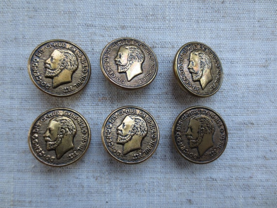 Vintage gold tone coin design metal shank buttons wholesale for Buttons with shanks for jewelry