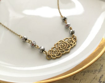 Floral Necklace, Filigree Necklace, Best Friend Gift, Handmade Jewelry, Bridesmaid Gift, Gif Ideas, Beaded Necklace