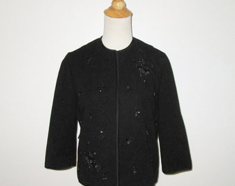 Vintage 1950s 1960s Jacket/50s 60s Black Jacket/50s 60s Jacket With Beads & Sequins - Size M