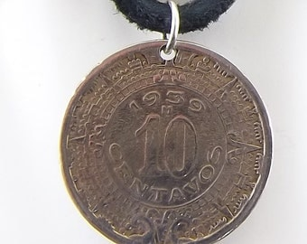 1939 Mexican Coin Necklace, 10 Centavos, Coin Pendant, Mens Necklace, Womens Necklace, Leather Cord, Vintage