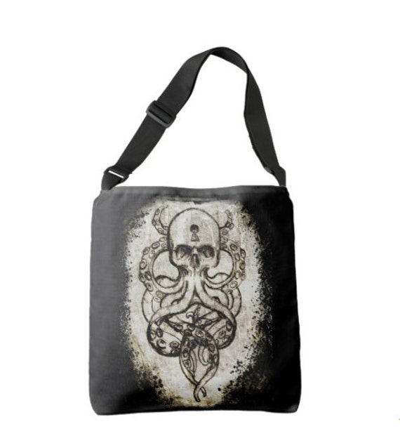Cthulu Tentacle Skull Cross Body Bag