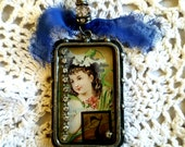 Industrial Chic Large Resin young Girl Pendant