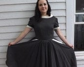 Vintage 50s Dress Button Back Black Floral Print Cotton Full Skirt M 38 Bust