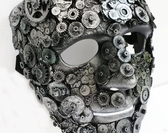 steampunk clockwork mask large,