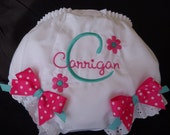Personalized  Hot Pink and Aqua  Diaper Cover