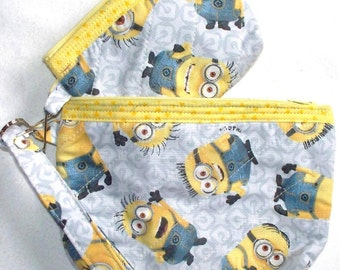 Minion Quilted Cosmetic Bag,Despicable Me Coin Purse 3 Piece Set. Wristlet Zippered Clutch.Your Choice of Chillin Olaf Snowman or Minions