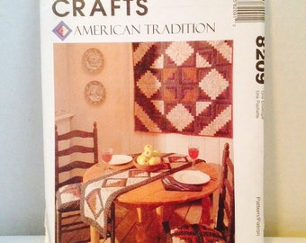 Uncut, McCalls Crafts Sewing Pattern 8209 American Traditions Quilting Quilt Pattern Log Cabin Wallhanging, Apron, Table Runner, Placemat