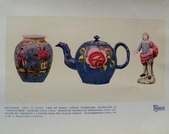 Antique Book Plate, Vintage Art Illustration, 1924 Print, Connoisseur Magazine Page, Salt Glaze Pottery Stoneware Photos
