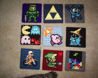 Video Game Coasters - Halo, Kirby, Final Fantasy, Megaman, Tetris, Dr Who,