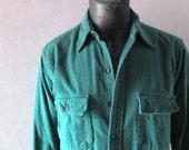 Vintage L.L. Bean Green Chamois Work Shirt - 16.5 Long - Big and Tall Mens - Stranger Things 1980s Prep Rustic Lumberjack Mainer 70s Cool