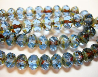 25 beads - 8x6mm Light Sapphire Blue Picasso Czech Fire polished Rondelle beads