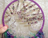 Windswept Fluorite TREE of LIFE - Dreamcatcher in Teal, Purple, and Peacock by Feathered Dreams