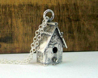 Silver BirdHouse Necklace
