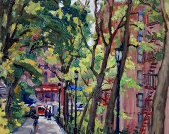 The Isham Park Alley, Inwood. New York City Oil Painting, Oil on Panel, 12x16 Impressionist Plein Air Fine Art, Signed Original NYC Artwork