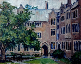 Pyne Hall at Princeton, Rainy. 11x14 Oil on Panel, Small Plein Air Impressionist Landscape Painting, Realist Oil, Signed Original Fine Art
