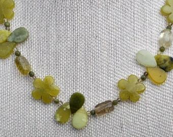 Olive Jade Flower Teardrop Necklace