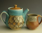 Turquoise porcelain teapot, wood-soda fired
