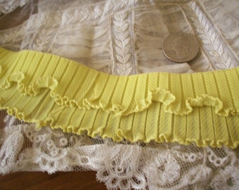 Pleated and ruffled antique chartreuse trim vintage supplies
