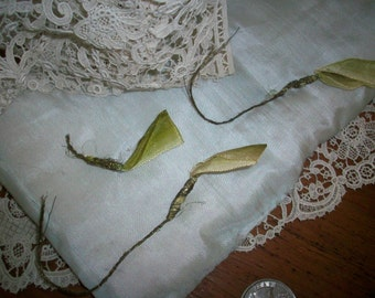 ombre leaves ribbon silk antique ribbon work flower metal mesh authentic