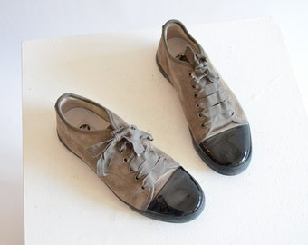LANVIN suede and patent leather sneakers / 8