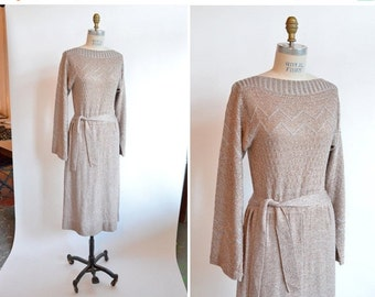 30% OFF STOREWIDE / Vintage 1970s KNIT metallic maxi dress