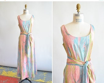 30% off storewide /// Vintage 1960s BLEEKER ST psychedelic maxi dress