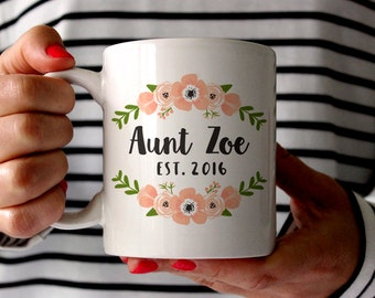 Aunt Gift Pregnancy Reveal to Aunt Pregnancy Announcement to Aunt New Aunt Gift Aunt Mug Gift Sister Personalized Pregnancy Reveal Floral
