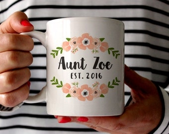 Aunt Gift Pregnancy Reveal to Aunt Pregnancy Announcement to Aunt New Aunt Gift Aunt Mug Gift Sister Personalized Pregnancy Reveal Pink